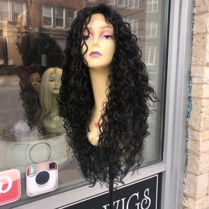 Accessories - Black long curly 6x6 Freepart Curly Lace Wig 2020